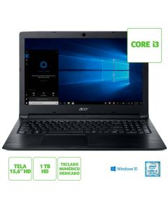 "Notebook Aspire 3 Core i3/4GB/1TB/Win10 Tela 15,6"" Acer - Preto"