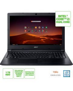 "Notebook Aspire 3 HD Acer i3/4GB/1TB/Endless 15,6"" - Preto"