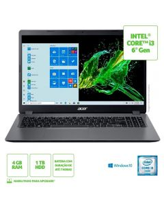 "Notebook Aspire 3 I3/4Gb/1Tb/Win10 15,6"" Acer - Cinza"