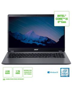 "Notebook Aspire 3 I5/4Gb/1Tb/Win10 15,6"" Acer - Cinza"