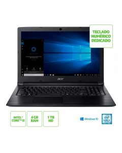 "Notebook Aspire 3 Intel Core i5 4GB/1TB/Win10 15,6"" Acer - Preto"