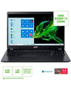 "Notebook Aspire 3 Ryzen3/8Gb/1Tb/Win10 15,6"" Acer - Preto"