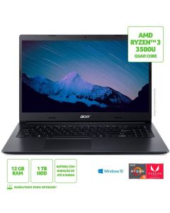 "Notebook Aspire 3 Ryzen5/1Tb/12Gb/Win10 15,6"" Acer - Preto"