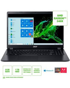 "Notebook Aspire 3 Ryzen5/8GB/1TB/Win10 15,6"" Acer - Preto"