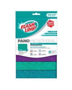 Pano Microfibra Multiuso 3 Peças Flah Limp - Colors