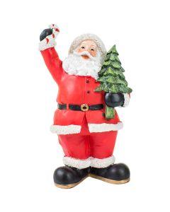 Papai Noel com Pinheiro 19x10x7,5cm Santini - Vermelho