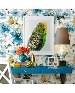 Papel de Parede 9,5m x 53cm Havan - Floral Azul PM 15105