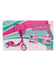 Patinete 3 Rodas com Cesto Havan - HBR0126 - Rosa