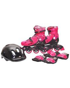 Patins Infantil Barbie com Proteção Fun - Preto 33-36