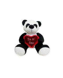 Pelúcia Panda com Coração Bichinhos Carinho - Preto