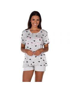 Pijama Curto Cats Are You Holla Estampado/Mescla