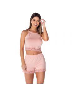 Pijama Curto com Cropped Viscolycra Camila Moretti Rose