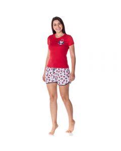 Pijama Curto com Peitilho Smack Disney Vermelho/Branco