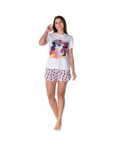 Pijama Curto Estampado Love Disney Branco