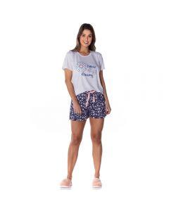 Pijama Curto Estampado Margarida Holla Mescla