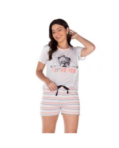 Pijama Curto I Love You Holla