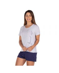Pijama Curto Love Yourself Short em Poá Holla Mescla/Estampado