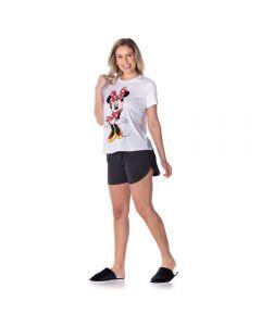 Pijama Curto Minnie Disney Branco/Mescla