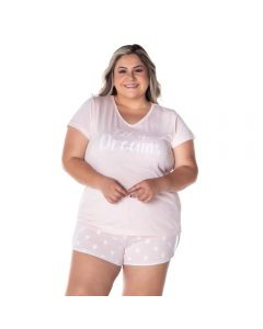 Pijama Curto Plus Size Dreams Holla Rosa