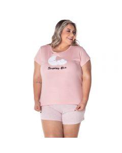 Pijama Curto Plus Size Lua e Nuvem Holla Rosa