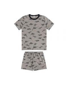 Pijama de 1 a 3 Anos Curto Dinossauros Alakazoo Mescla Médio