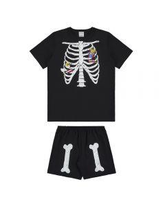 Pijama de 1 a 3 Anos Curto Esqueleto Alakazoo Preto