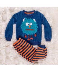 Pijama de 1 a 3 Anos Monstrinho Yoyo Kids Azul