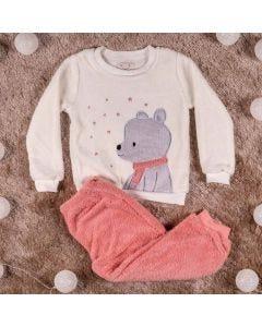Pijama de 1 a 3 Anos Urso Yoyo Kids Rosa Bco