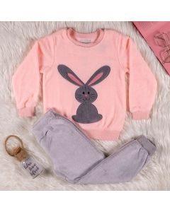 Pijama de 4 a 10 Anos Coelho Marmelada Rosa Cinza