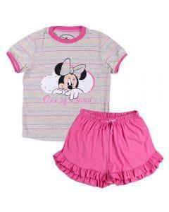 Pijama de 4 a 10 Anos Curto com Babados Minnie Disney Mescla Banana