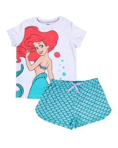 Pijama de 4 a 10 Anos Curto Pequena Sereia Disney Branco