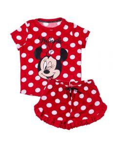 Pijama de 4 a 10 Anos Curto Poá Minnie Disney Vermelho