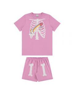 Pijama de 4 a 10 Anos Esqueleto Arco Íris Alakazoo Rosa