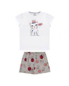Pijama de 4 a 10 Anos Gatinho Coroa Alakazoo Mescla Medio
