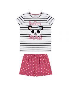 Pijama de 4 a 10 Anos Listras com Poá Alakazoo Preto