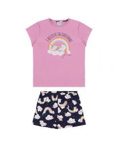 Pijama de 4 a 10 Anos Unicórnio Arco Íris Alakazoo Rosa