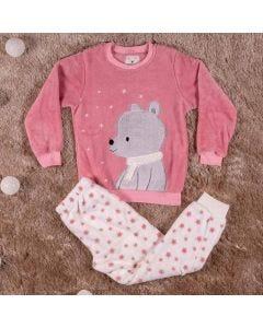 Pijama de 4 a 10 Anos Urso Estrelas Marmelada Rosa Bco