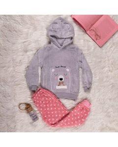 Pijama de 4 a 10 Anos Urso Marmelada Rosa Cinza