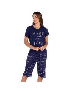 Pijama Estampado Made With Love Holla Marinho/Estampado