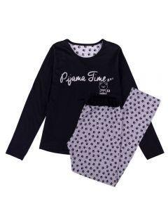 Pijama Feminino Adulto Calça de Patinhas Holla Preto/Estampado