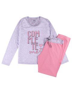Pijama Feminino Adulto Complete Me List Mescla/Rosa