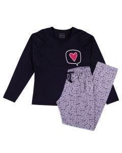 Pijama Feminino Adulto Coração Holla Preto