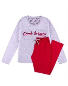Pijama Feminino Adulto Good Dream Holla Mescla/Vermelho