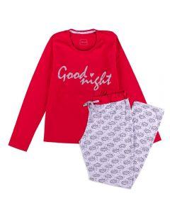 Pijama Feminino Adulto Good Night Holla Vermelho