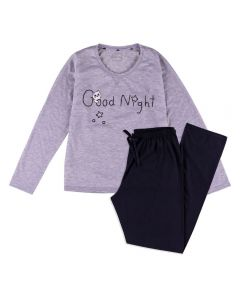 Pijama Feminino Adulto Good Night Gatinho Holla Mescla/Preto