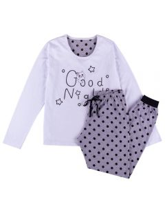 Pijama Feminino Adulto Good Night Holla Branco