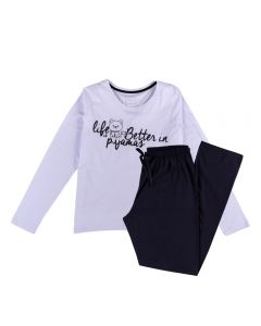 Pijama Feminino Adulto Life Better Holla Branco/Preto