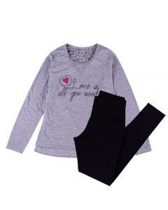 Pijama Feminino Adulto Love Is All You Need Holla Mescla/Preto