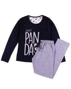 Pijama Feminino Adulto Lovely Panda Holla Preto/Mescla