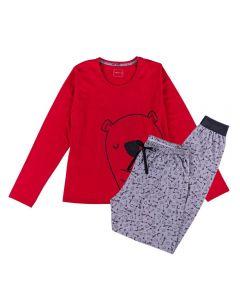 Pijama Feminino Adulto Manga Longa Urso Holla Vrmlh/Estampado